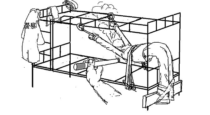 馬三家勞教所酷刑:「抻床」。《馬三家來信》插圖。(孫毅繪)