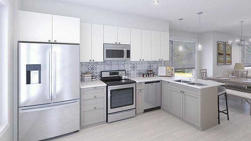 The Loop排屋的廚房配有建築商提供的高品質家電,包括全套不銹鋼Whirlpool牌廚房電器、廚房瓷磚背景牆、耐用櫃檯面和Moen牌高弧水龍頭。另外,廚房的櫥櫃和抽屜都帶有緩衝關閉(soft-close)功能。(StreetSide 提供)