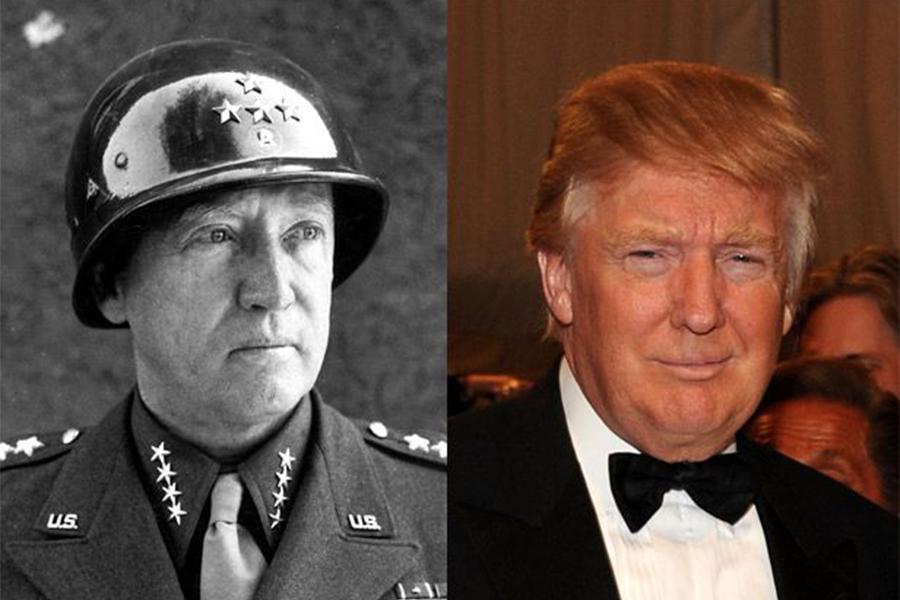 特朗普(右)和巴頓將軍(左)極為相似。(大紀元)