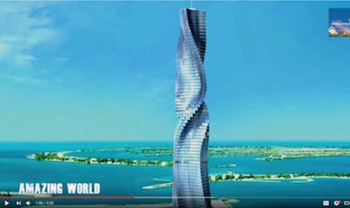 全球首座旋轉的摩天樓可能很快落戶於杜拜。(youtube影片截圖)