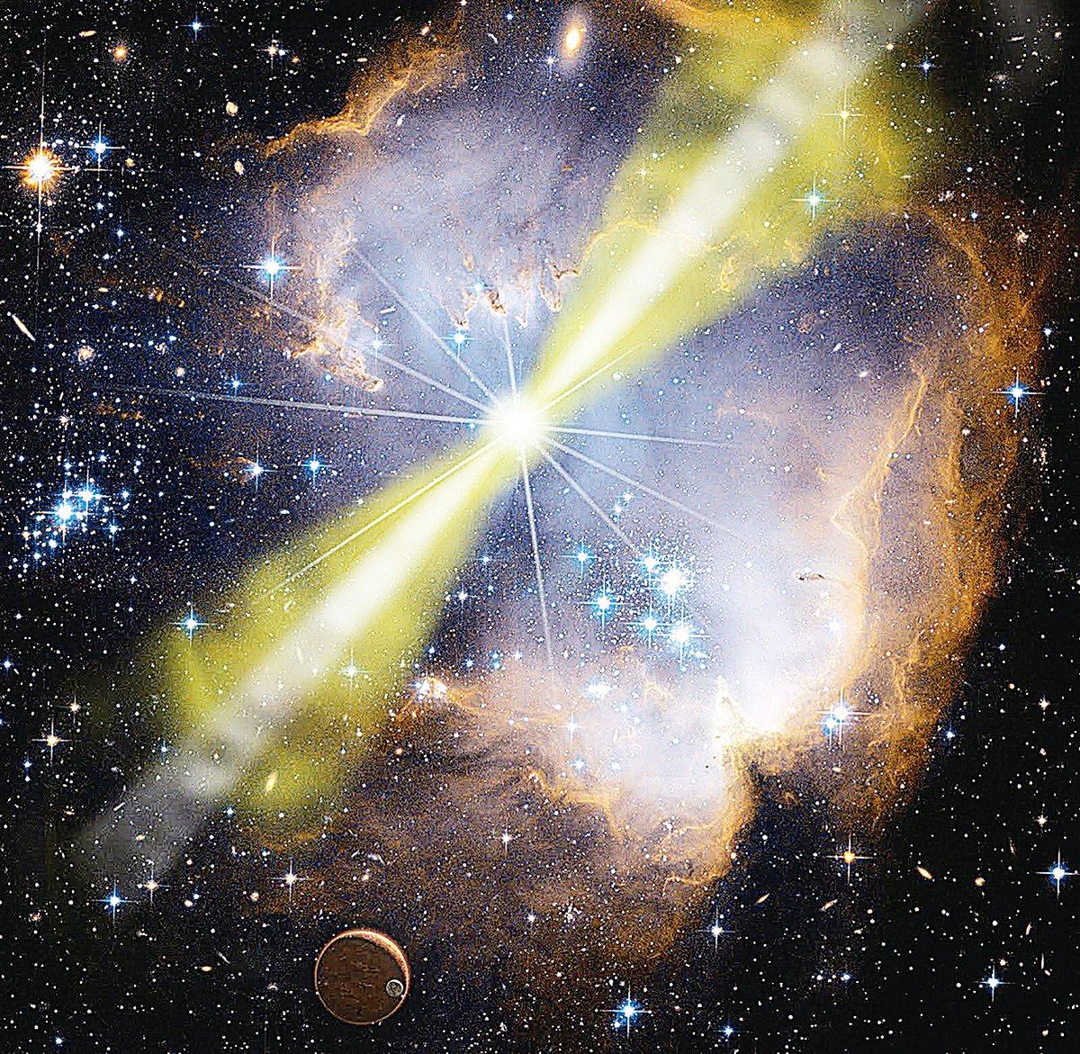 太空中經常有恆星爆炸,釋放極強的伽瑪射線、X射線、無線電等粒子束。(NASA)