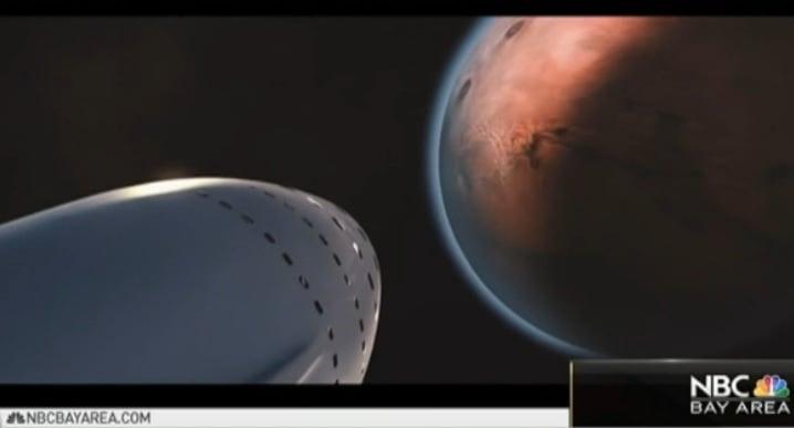 特斯拉執行長馬斯克(Elon Musk)2月27日宣佈,旗下美國太空探索科技公司(SpaceX)將於2018年底送兩人到月球。(NBC視像擷圖)