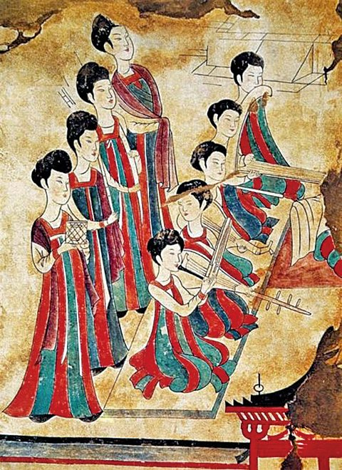 唐李壽墓〈舞樂圖〉(公有領域)