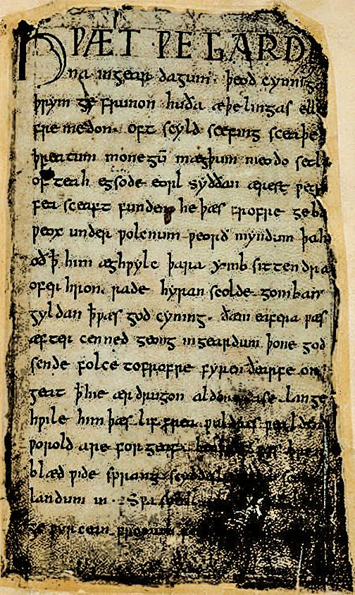 手抄本中的古英語《貝奧武甫》第一頁(公有領域)