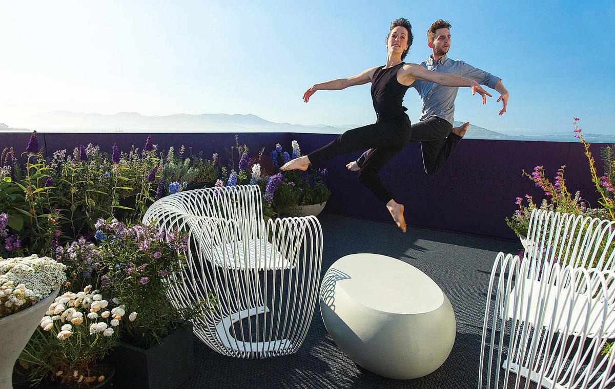 「2016年三藩市家居裝飾展」的其中一個展覽中——陽台小花園。(張志維提供)