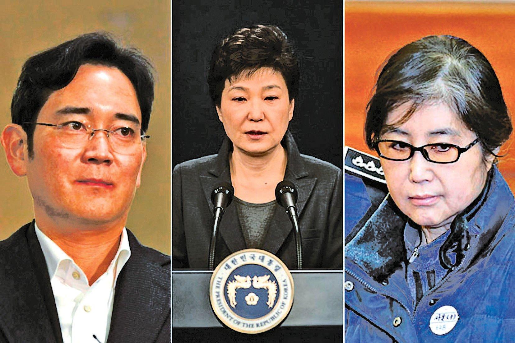 南韓特檢組2月28日結束為期70天的調查,認定朴槿惠(圖中)涉嫌與崔順實(圖右)共謀,收取李在鎔(圖左)的賄賂。(Getty Images/新唐人合成)