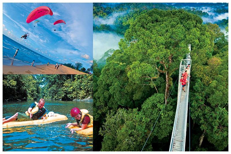 左上:文萊擁有狹長的海岸線,各種水上遊樂活動應有盡有。左下:乘搭小船到森林公園中,享受愜意的清涼之旅。右圖:從天空步道上俯瞰,仿若生出一對羽翼飛上雲霄,豁然開朗,心曠神怡,婆羅洲的森林美景一覽無遺。