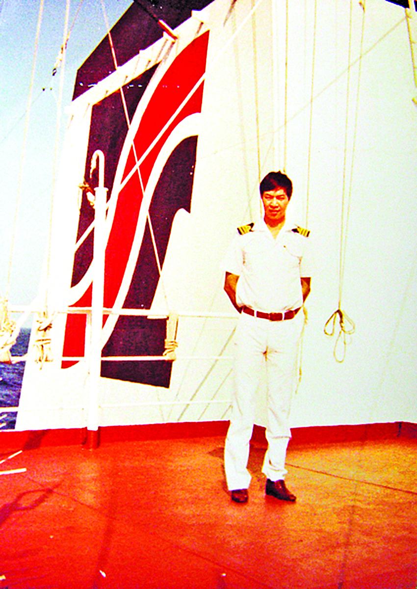 王中同船長1987年在紐約。(王中 同提供)