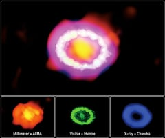 耀眼超新星爆炸形成絢麗火環