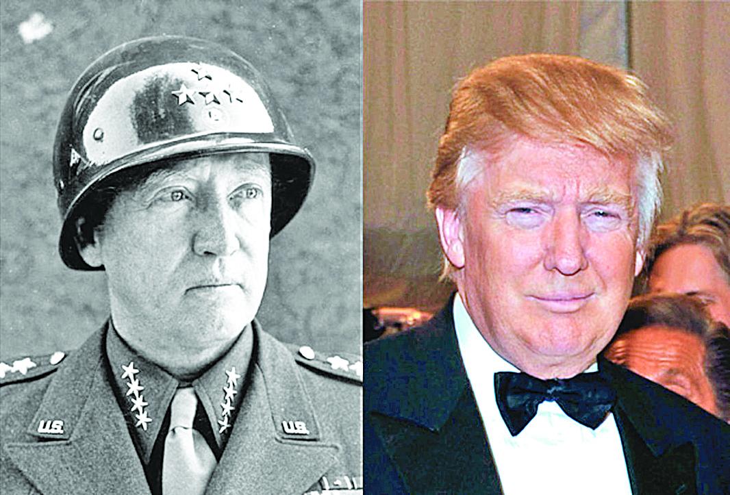 對比特朗普(右)和巴頓(左)的照片,兩人相貌竟非常相似。除了形似,還有許多神似之處。(Getty Images)