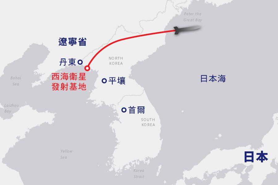 聯合國安理會周二(7日)強烈譴責北韓在6日早上發射4枚彈道導彈。(地圖:美國地質調查局)