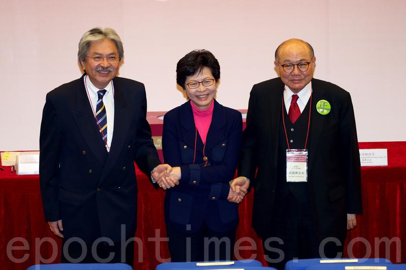 選管會昨就特首選舉選票上的排名次序抽簽,(左起)1號曾俊華,2號林鄭月娥,3號胡國興。(李逸/大紀元)