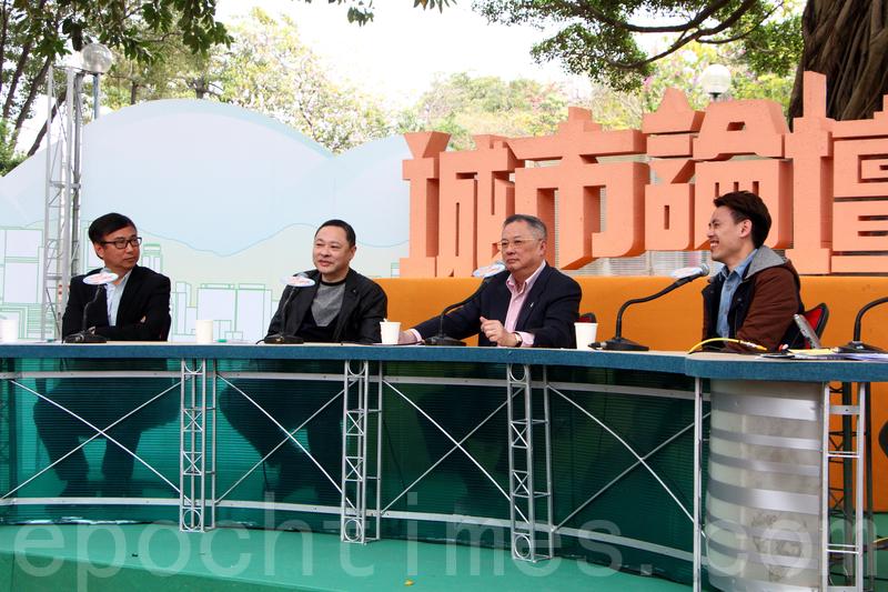 戴耀廷(左二)表示,北京及中聯辦官員如此積極影響今屆特首選舉結果,違背《基本法》的原意。(蔡雯文/大紀元)