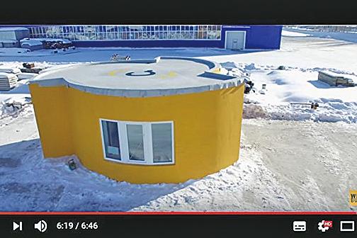 俄羅斯Apis Cor公司推出新式3D列印房屋,24個小時就可興建完工。(影片擷圖)