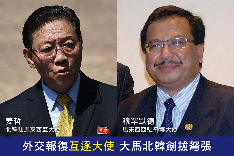 馬來西亞驅逐北韓大使姜哲(左),大馬駐平壤大使穆罕默德(右)也遭北韓列為不受歡迎人物,北韓並下達驅逐令,兩國互相驅逐大使的報復手段,讓外交緊張情勢越演越烈。(MANAN VATSYAYANA/AFP/Getty Images、馬來西亞駐平壤大使館)