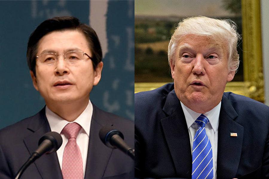 南韓政府多位消息人士今天透露,南韓代總統黃教安(左)今天與美國總統特朗普(右)通電話,就北韓昨天試射彈道導彈深入交換意見。(pmo.ko.kr、Andrew Harrer-Pool/Getty Images)