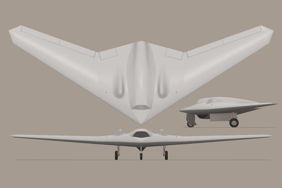 RQ-170「哨兵」隱形無人機的印象圖。(維基百科)