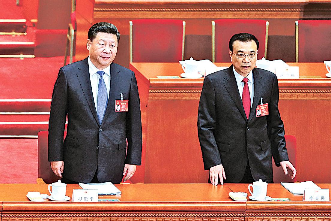 3月5日,習近平和李克強在北京參加全國人大會議開幕式。(Getty Images)