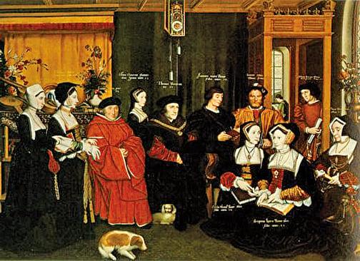 托馬斯•莫爾和家人。Rowland Lockey繪於1592年。 (維基百科)