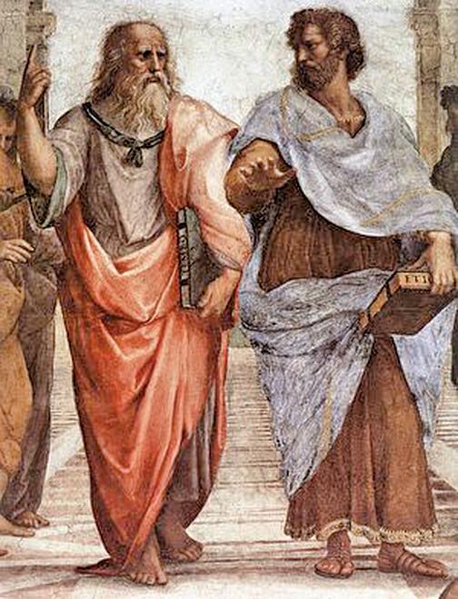 柏拉圖手指向天,象徵他認為美德來自於智慧的「形式」世界。而亞里士多德則手指向地,象徵他認為知識是透過經驗觀察所獲得的概念。Raphael作於1509年。(維基百科)