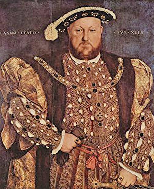 晚年的亨利八世。Hans Holbein der Jüngere作品(維基百科)