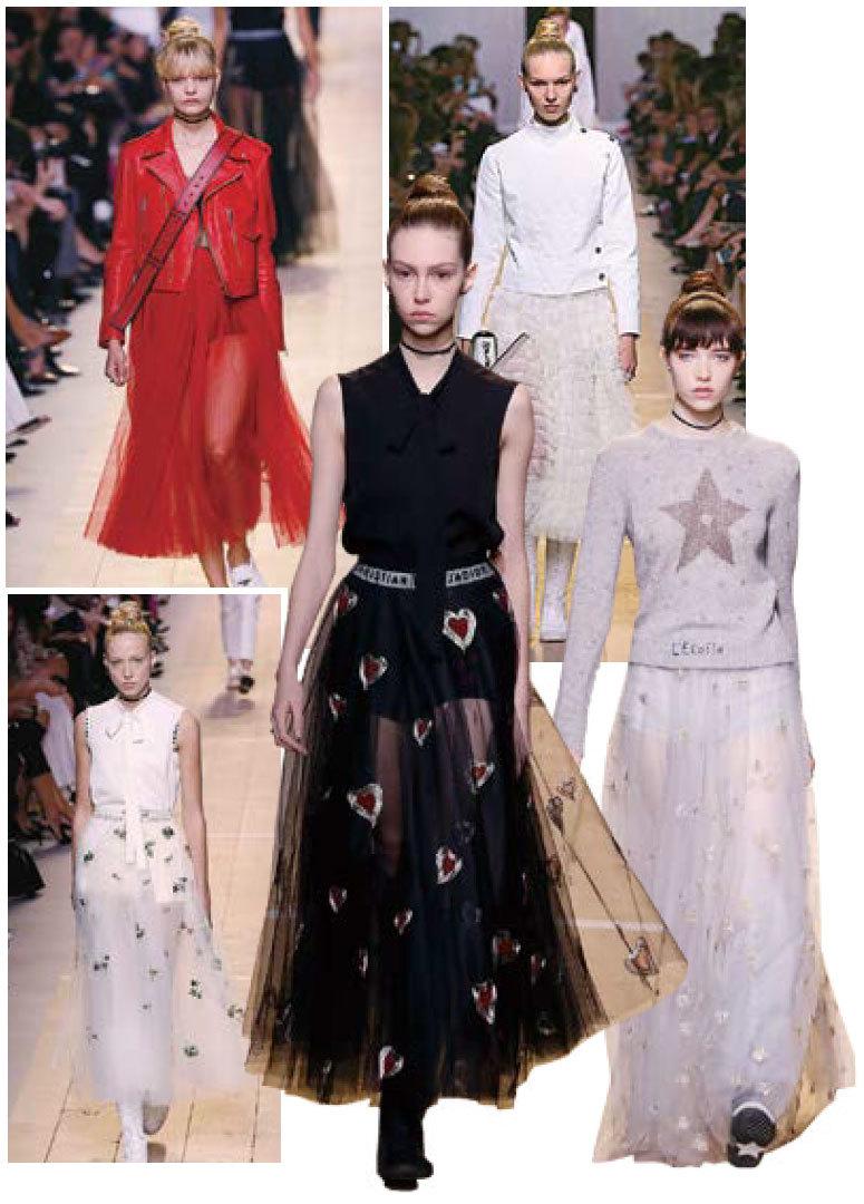 Dior 2017年春夏成衣時裝秀於去年9月30日在巴黎舉行。系列大量採用了薄紗、刺繡、蕾絲等夢幻元素,帶出女性柔美、飄逸的氣質。同時也加入了西裝外套、皮褸、運動風長靴等中性服飾加以Mix and Match,營造不同風格的女性形像。(Getty Images)