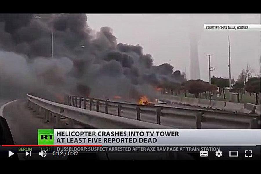 一架搭載土耳其伊薩奇巴希集團(Eczabicasi)主管和4名俄羅斯人的直升機周五(3月10日)墜毀在伊斯坦堡。(視像擷圖)