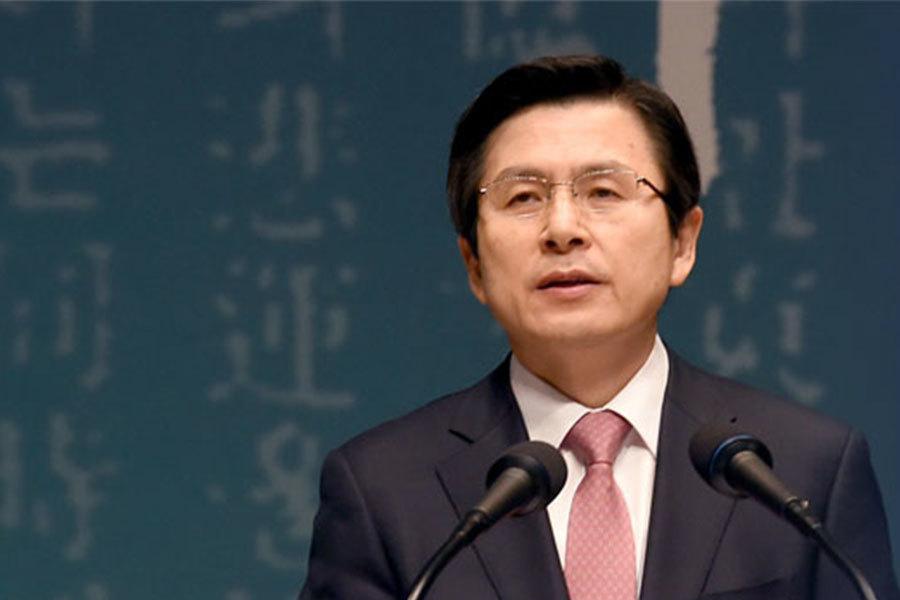 南韓憲法法院因貪腐醜聞正式解除朴槿惠總統職務後,代理總統黃教安說自己感到「責任重大」,並指總統補選期間,須維持國防和經濟穩定。圖為南韓代理總統黃教安。(pmo.ko.kr)