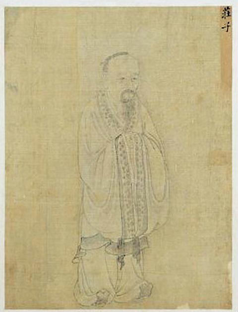 莊子像,清故宮南薰殿舊藏歷代聖君賢臣全身像冊,紙本白描,今藏台北故宮博物院。(公有領域)