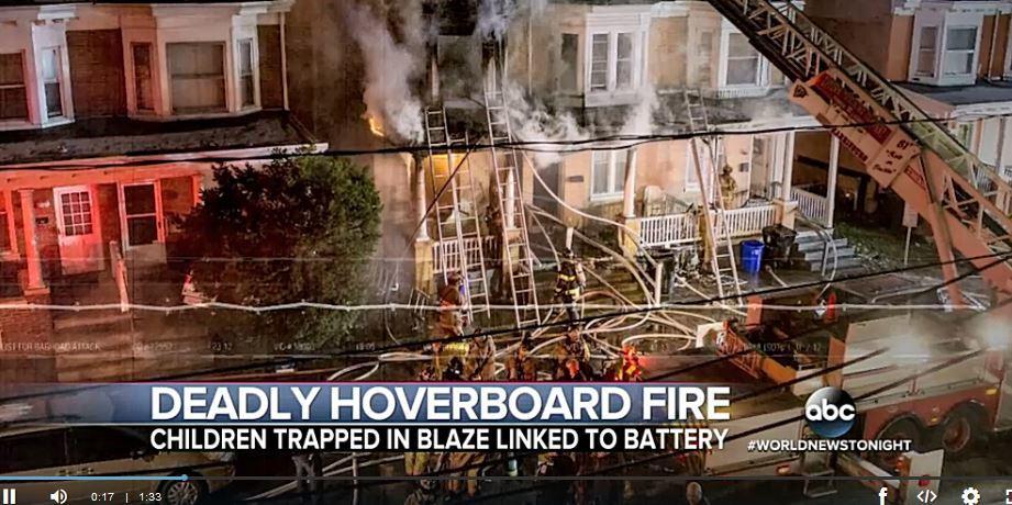 美國賓夕凡尼亞州發生一宗懸浮滑板(hoverboard)充電時引發火警的意外,事故造成一名3歲女童死亡,另2名幼童重傷。(視像擷圖)