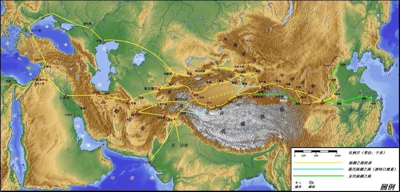 陸路絲綢之路的路線圖。(維基百科公有領域)
