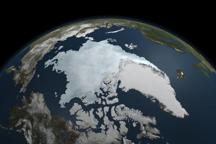 根據一份最新研究報告,三十餘年來北極海冰的流失,不全然是人為的氣候暖化造成,其中可能有50%歸因於大自然的變動。(NASA)