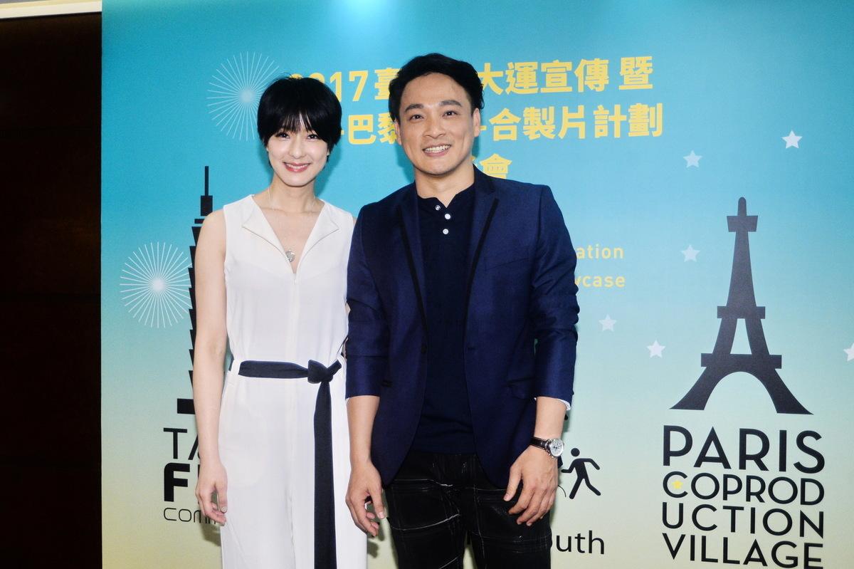 台灣藝人賴雅妍和東明相13日在灣仔出席台北世大運-台法合作製片計畫記者會。(宋碧龍/大紀元)