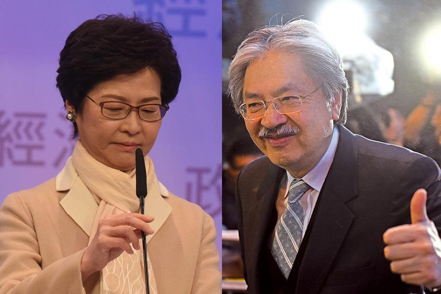 七間本港電子傳媒昨晚合辦特首選舉辯論,候選人林鄭月娥(左)、曾俊華(右)與胡國興首度同台互相質詢。(大紀元)