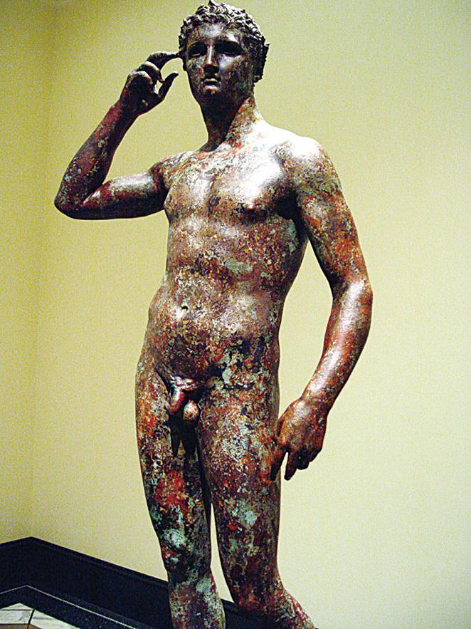 古希臘銅像,雕刻手法高超,栩栩如生,可以與現代藝術媲美。(維基百科)