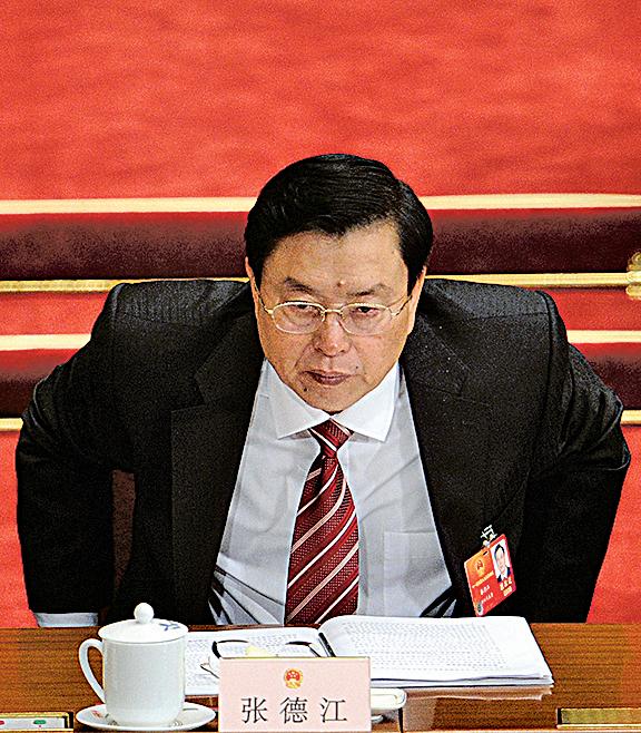 不怕張德江現在做多大的官,他在廣東的劣行已經是擦不掉的黑。圖為2012年3月5日,張德江參加中共「兩會」(Getty Images)