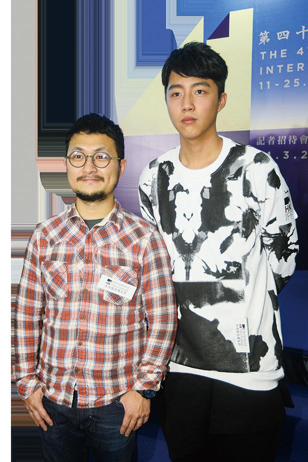 台灣導演九把刀帶同新戲素人蔡凡熙一同現身國際電影節記者會。(宋碧龍/大紀元)