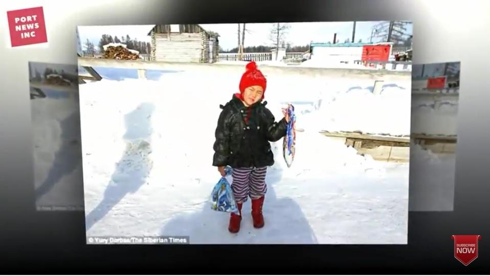 住在西伯利亞荒野的4歲女娃薩格拉娜・薩爾查克(Saglana Salchak),為了生病的祖母,冰天雪地中摸黑走了8公里求救鄰居。她的孝心及勇氣,使她被當地居民譽為英雄。(YouTube視像擷圖)