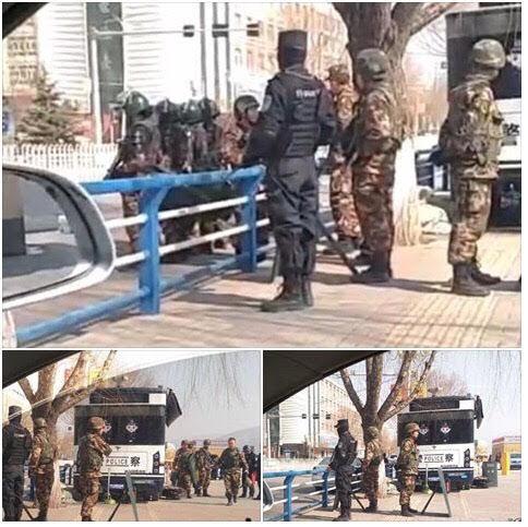 中共當局於今年三月敏感期在青海同仁縣實施嚴控場景。(自由亞洲電台)