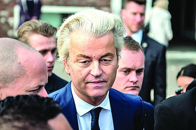 自由黨黨魁威爾德斯(中)被視為荷蘭「特朗普」。(Getty Images)