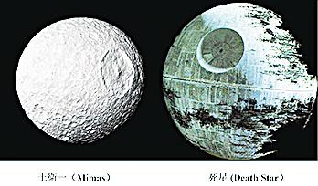 土衛一與「死星」(右)對比圖。(NASA/維基百科)