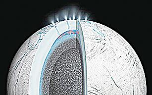 土衛二南極物質噴發模式圖。(NASA)