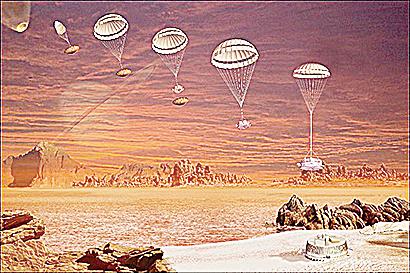 探測船登陸土衛六想像圖。(NASA)
