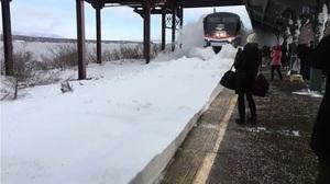 紐約小鎮火車進站造成「雪崩」