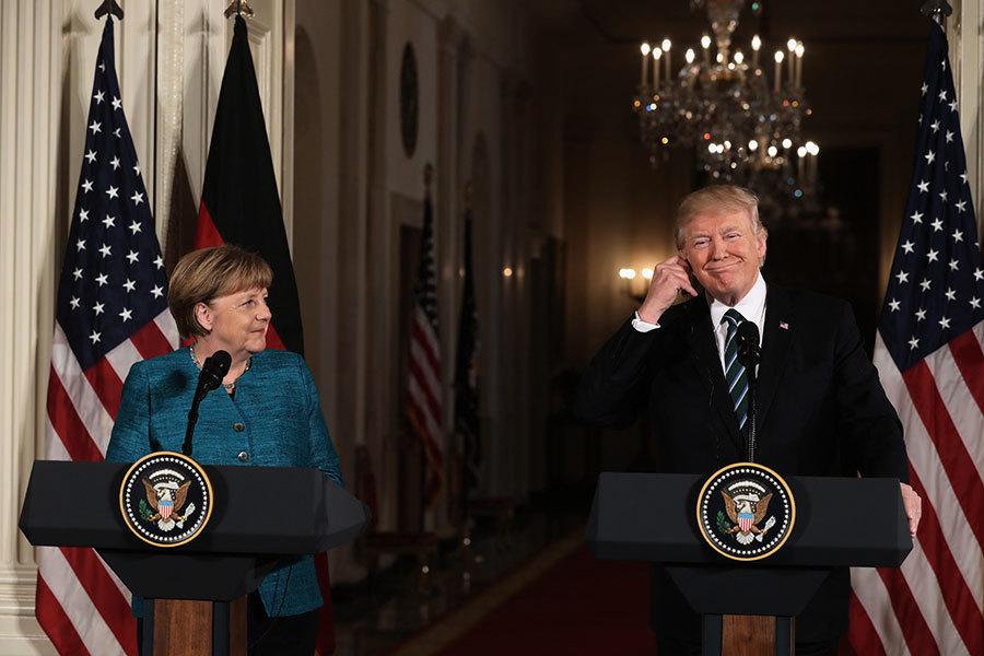 特朗普推文回應握手紛爭 稱和默克爾會談很棒