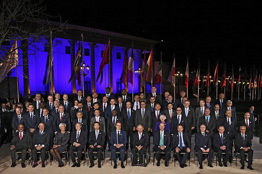 G20財長會議18日閉幕,公報少了過去常見的「反對貿易保護主義」及「氣候變化」等內容。(Thomas Niedermueller – Pool/Getty Images)
