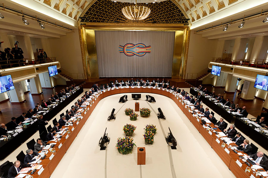 G20財長會議在德國度假勝地巴登巴登(Baden-Baden)舉行。(Ronald Wittek-Pool/Getty Images)