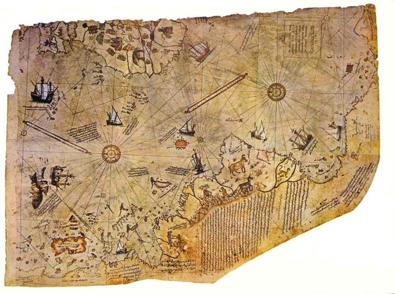 皮瑞・雷斯地圖(1513年繪製)。(維基百科)