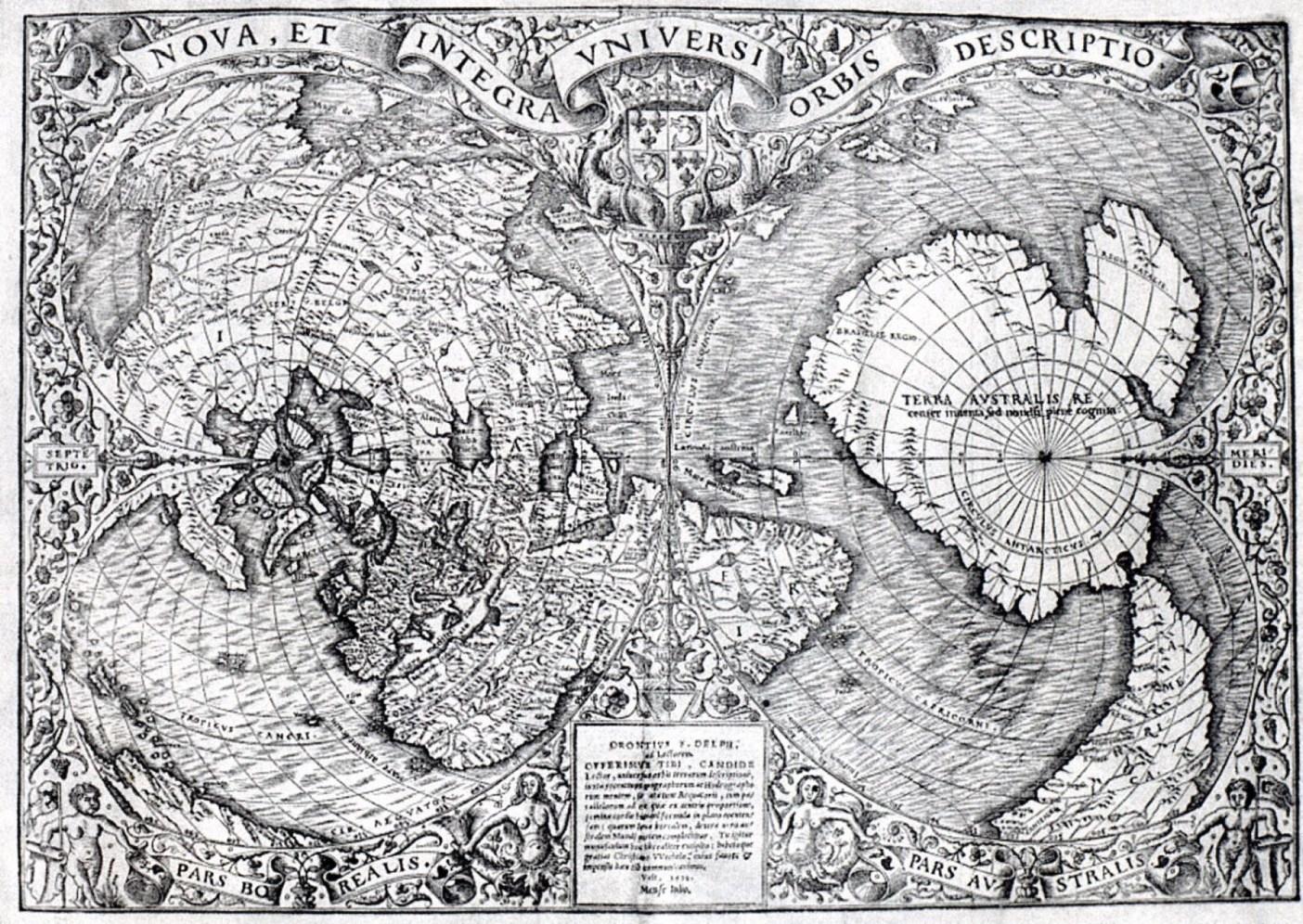 奧倫提烏斯・費納烏斯世界地圖(1531年繪製)。(維基百科)