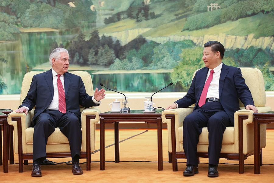 正在出訪北京的美國國務卿蒂勒森(Rex Tillerson),北京時間3月19日上午11時與中共主席習近平會面。(AFP PHOTO / POOL / Lintao Zhang)